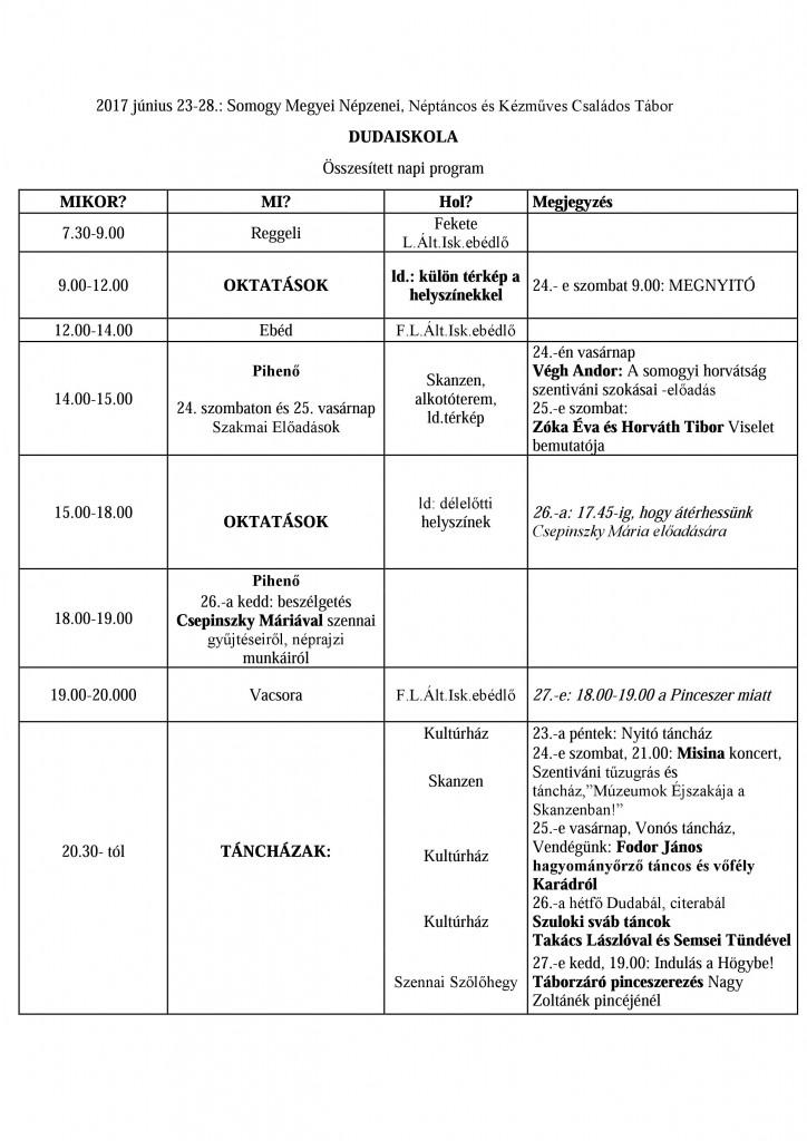 Dudaiskola napi program 2017
